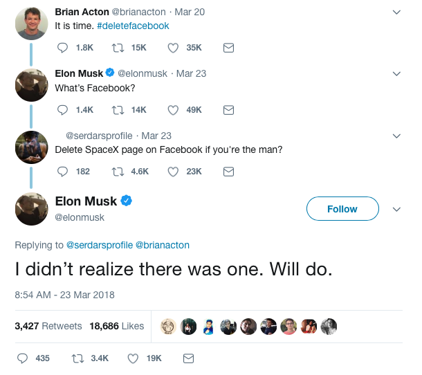 Musk deletes facebook for both Tesla and SpaceX