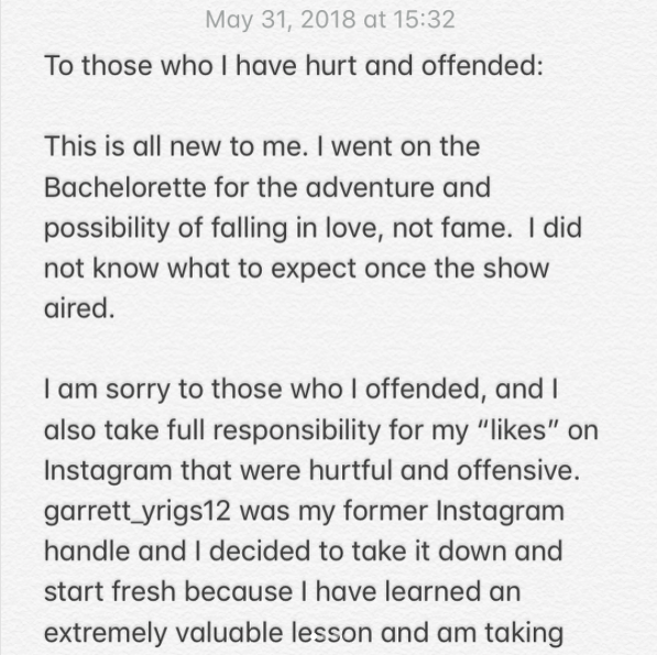 The Bachelorette's Finalist, Garrett Yrigoyen, Instagram apology